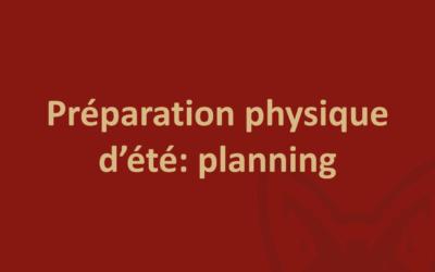 Planning préparation physique d'été